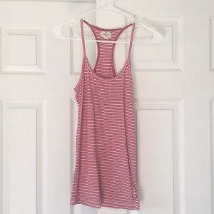Pink and white racer back tank top